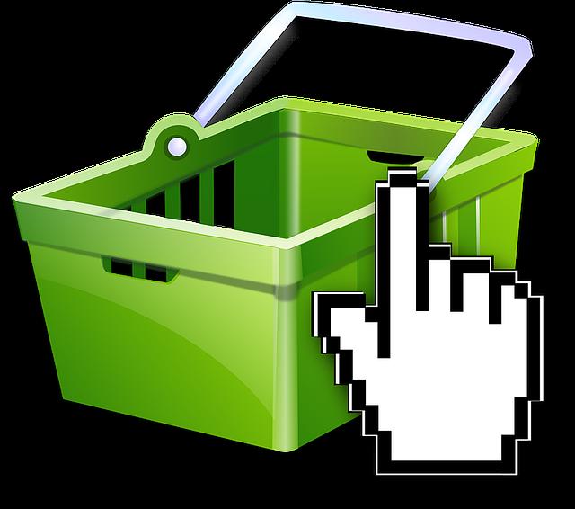 zelený košík na nákup