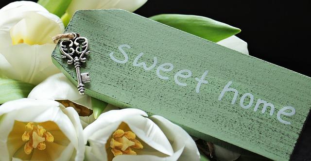 "tulipány a nápis ""sweet home"" na zelené destičce"