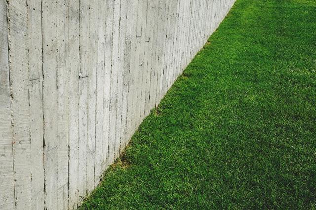 šedý plot, trávník